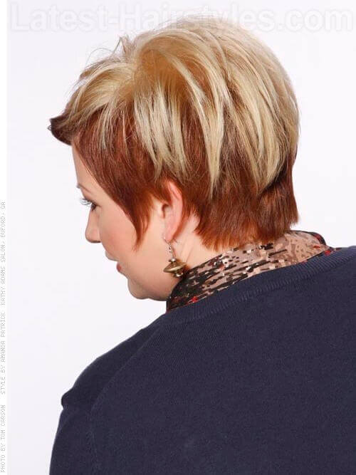 Short Cut with Blonde Color Back View