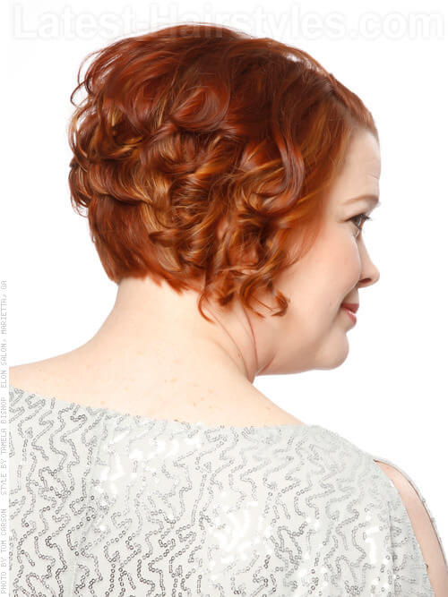 Short Red Wavy Women's 50+ Hairstyle Side View