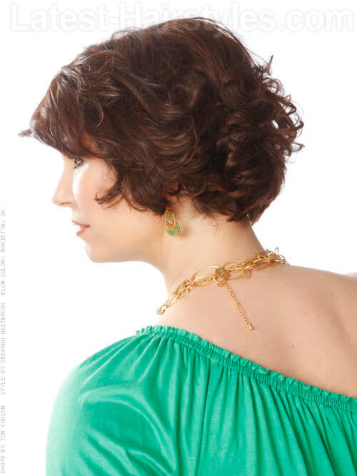 Sophisticated Wavy Short Brunette Cut Side View