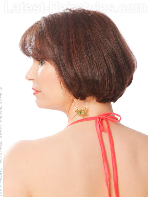 Spicy Decadence Shiny Brunette Bob with Bangs Side View