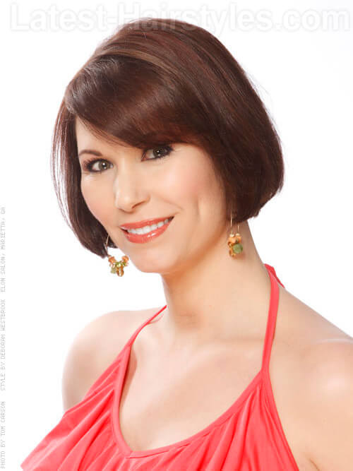 Spicy Decadence Shiny Brunette Bob with Bangs