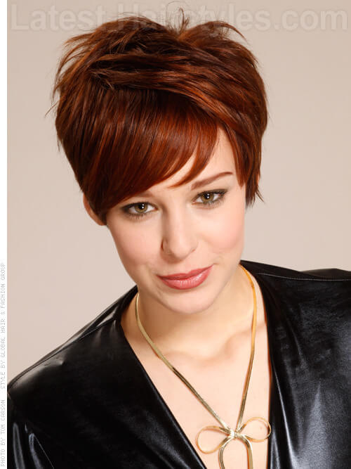 Spiked Up Short Hairstyle For Older Women