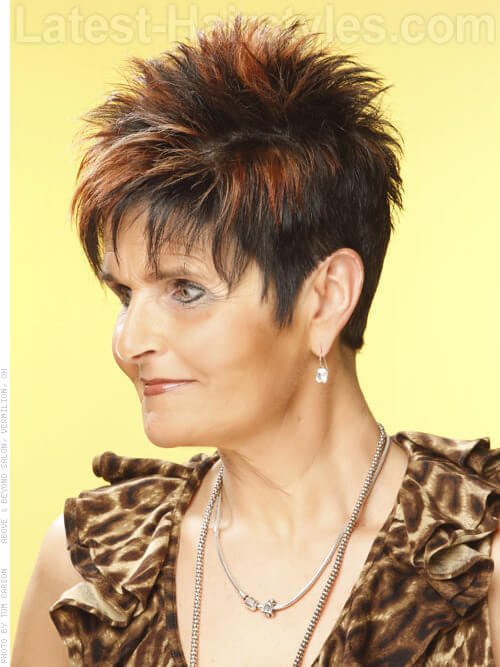 Spikey Highlighted Pixie 50+ Hairstyle Side View