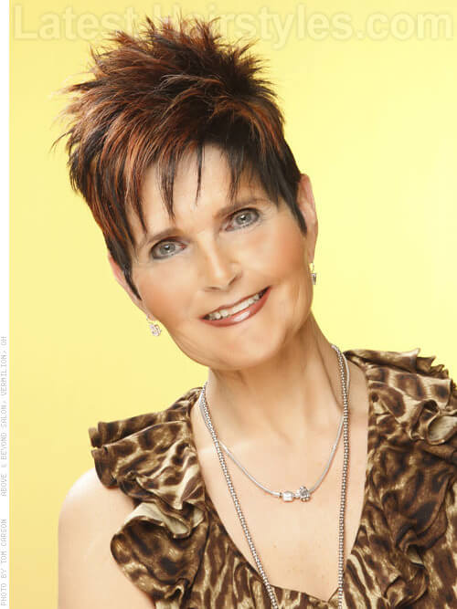 Spikey Highlighted Pixie Hairstyle For Women Over 50