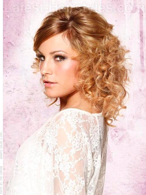 Wild Berry Copper Curly Shoulder Length Style Side View