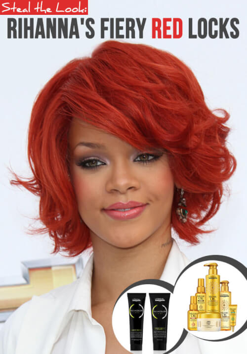 rihanna hairstyles red