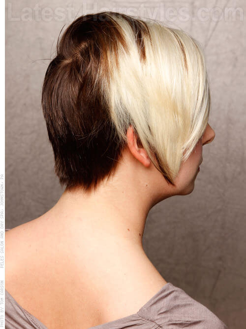 Blocked Out Platinum Blonde Short Style High Color Contrast