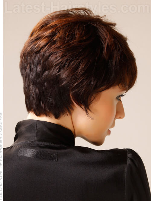 Caramel Ribbon Brown Hair Short Layered Look Back View