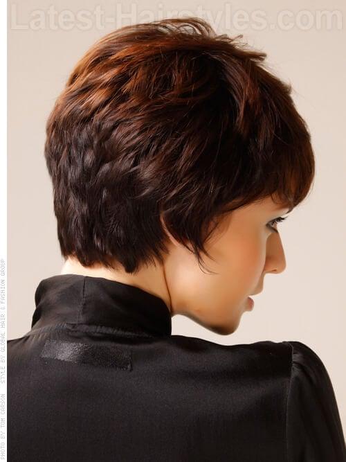 Caramel Ribbon Brown Hair Short Layered Look Back View