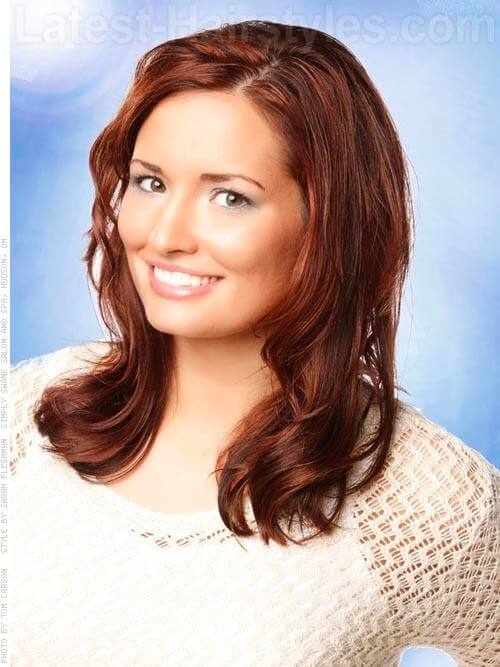 Copper Brown Hair Beauty Medium Wavy Style Front View
