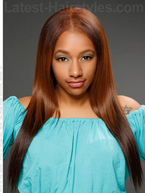 Copper Top Straight Long Brown Hair Look