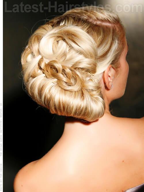 Graceful Platinum Blonde Elegant Updo Back View
