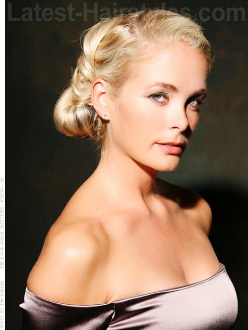 Graceful Platinum Blonde Elegant Updo