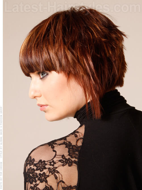 Heavy Bang Hottie short hairstyle for thick hair Side View