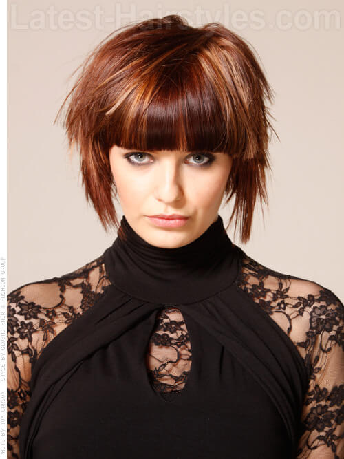 The best short shag haircut with heavy bangs