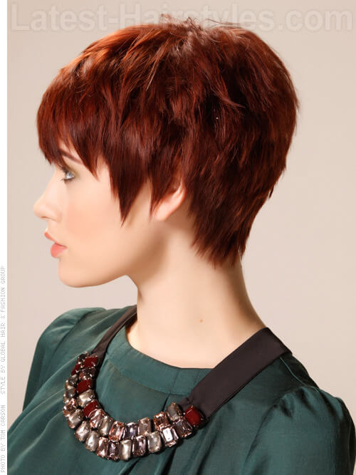 Jagged Edges Auburn Pixie with Long Spiky Bangs Side View
