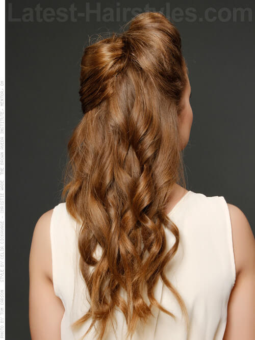 Long Half Updo with Bow Cute Look Back View