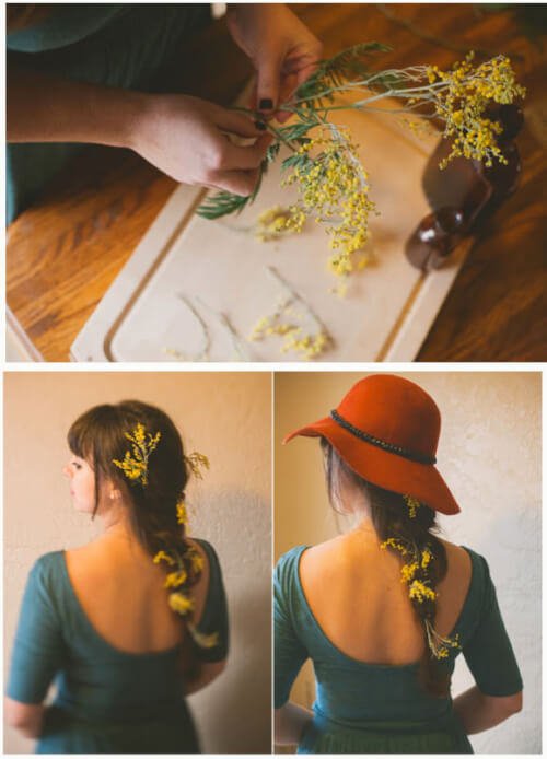 loose French braid floral inspired hairstyles
