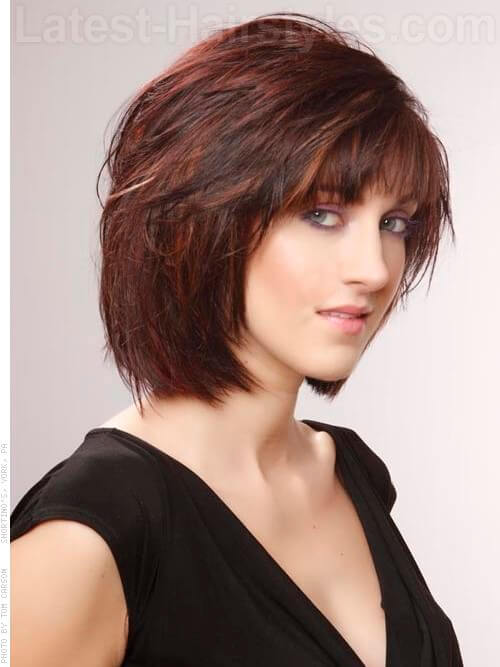 Copper Brown Highlights Dark Hair Medium brown red style with