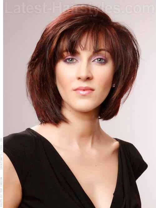 Medium Brown Red Style with Bangs