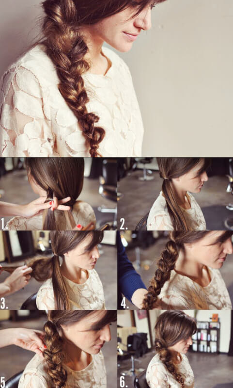 messy hairstyle in side braid