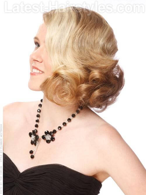 Platinum Blonde Prom Look With Waves and Curls Side View