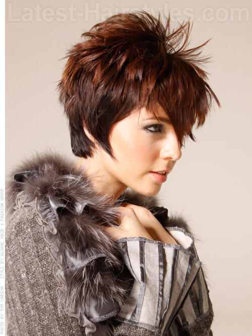 Sassy Spikey Pretty Brunette Style with Shine Side View