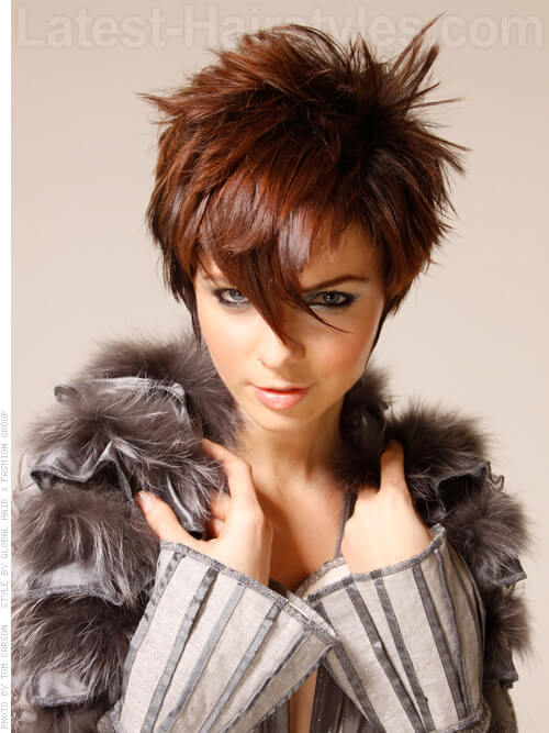 Sassy Spikey Pretty Brunette Style with Shine