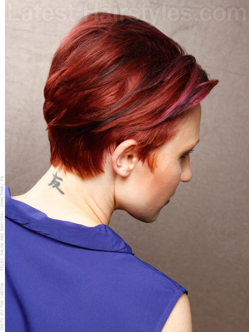 Slicked Cute Red Simple Style for Straight Hair Side View