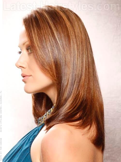 Sultry Cinnamon Slices Medium Brown Hair Side View