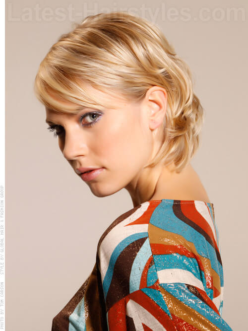 Turned Up Tottie Blonde Short Hairstyle with Flipped Back Behind Ears