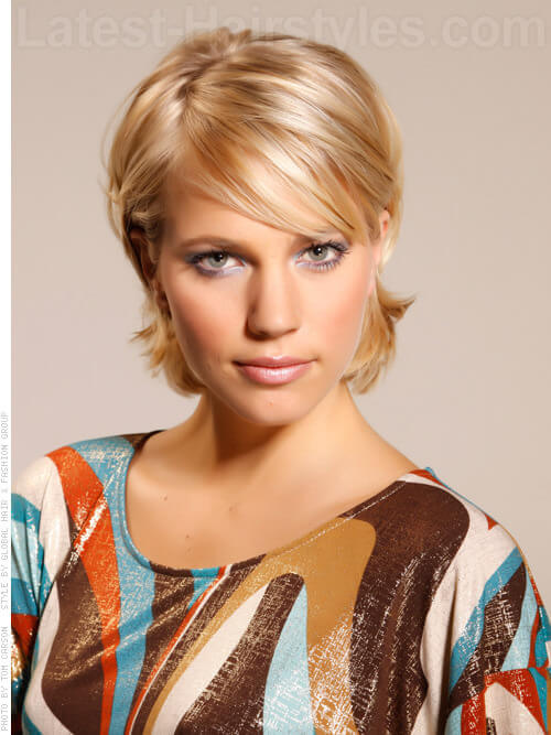 Turned Up Tottie Blonde Short Hairstyle with Flipped Back