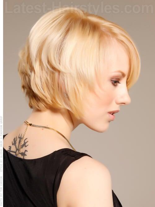 Wispy Layered Blond Cut Side View