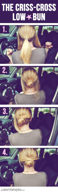 easy criss cross low bun
