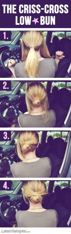 easy criss cross low bun