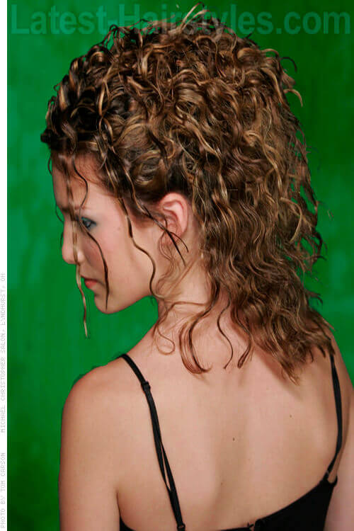 Curly Partial Updo Back