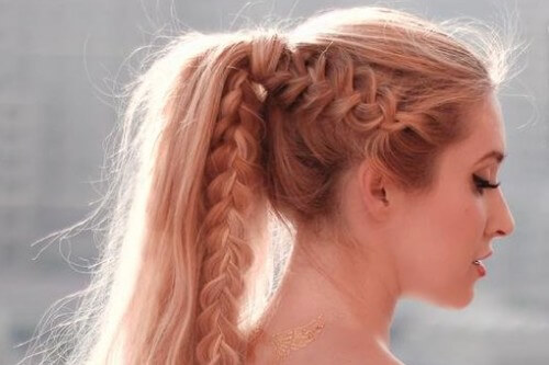 Fishtail Braid Into High Ponytail