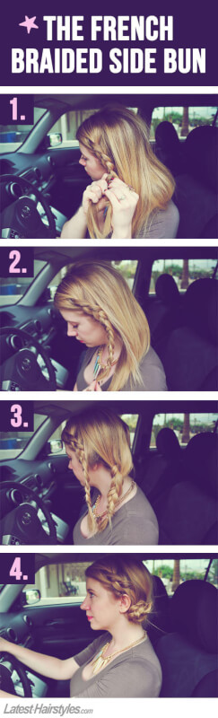easy french braided side bun