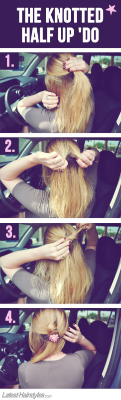 Step 1: Pull half of your hair toward the back of your head. Make sure ...