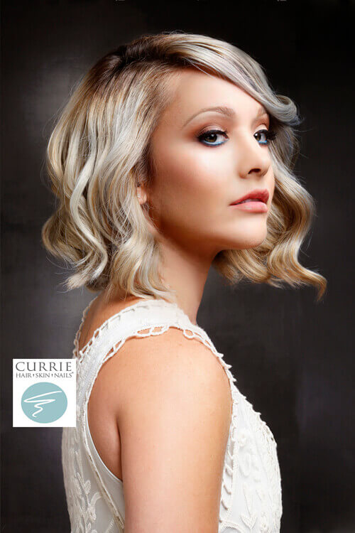 Platinum Lob with Violet Highlights Side