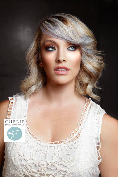 Platinum Lob with Violet Highlights