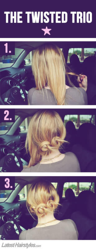triple bun easy hairstyle