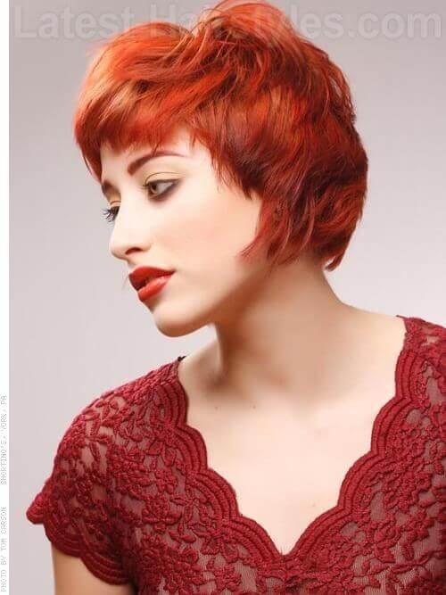Copper Short Wavy Hairstyles with Flair Side View