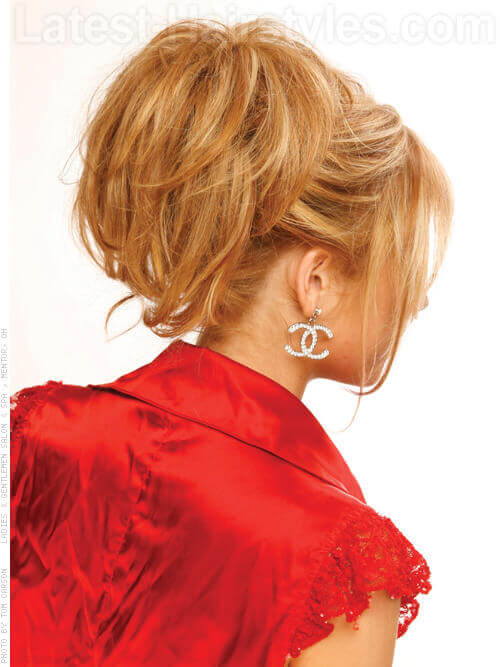 Coppery Cutie Honey Blonde Back View Piecey Ponytail