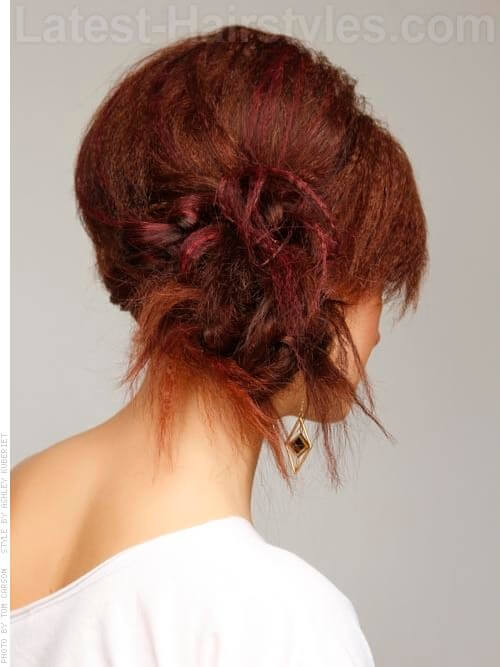 Crimp Tease and Bun Auburn Party Hairstyle Side View