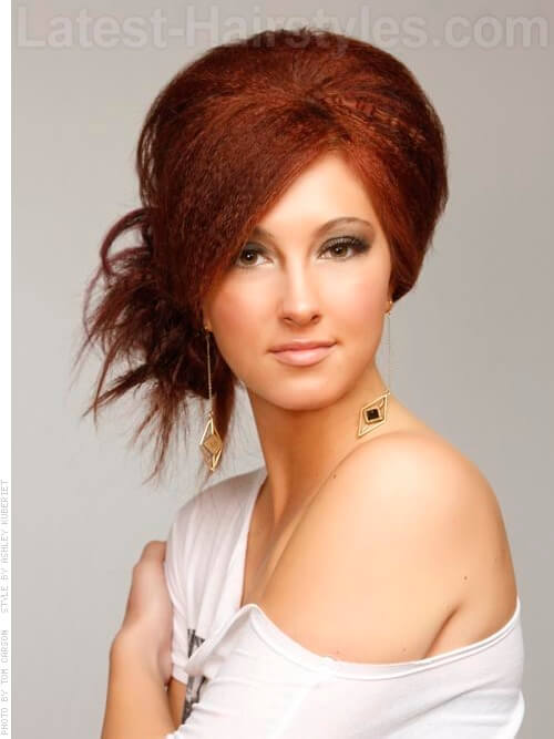 tease hair style 50 hairstyles that are amp chic updated for 2018 6031 | crimp tease and bun auburn party style