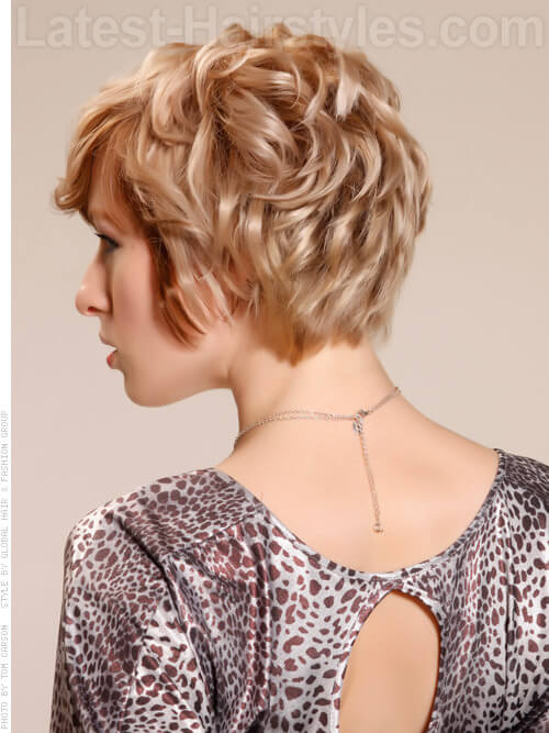 Curl Crush Short Tousled Blonde Waves Back View