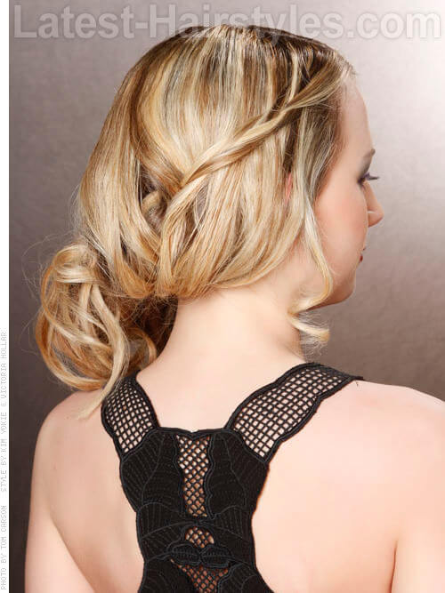 Delicate Style Blonde Party Hairstyle with Waves Side View