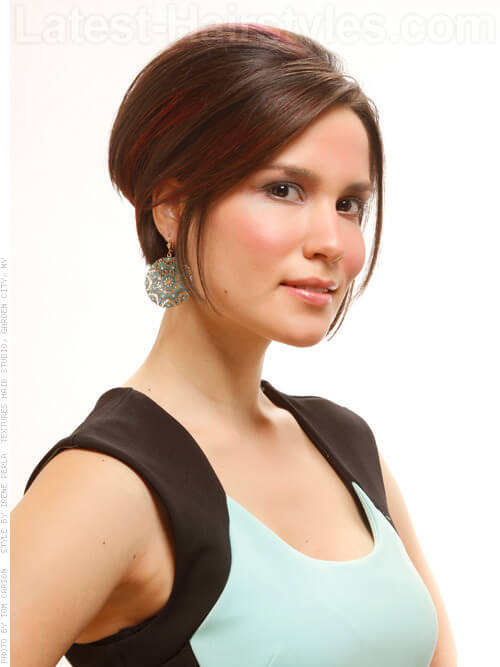 Faux Do Smooth Highlighted Party Hairstyle