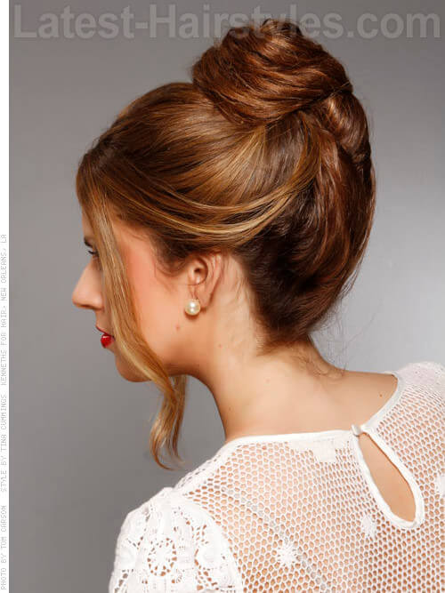 High Bun Cute Party Hairstyle Back View